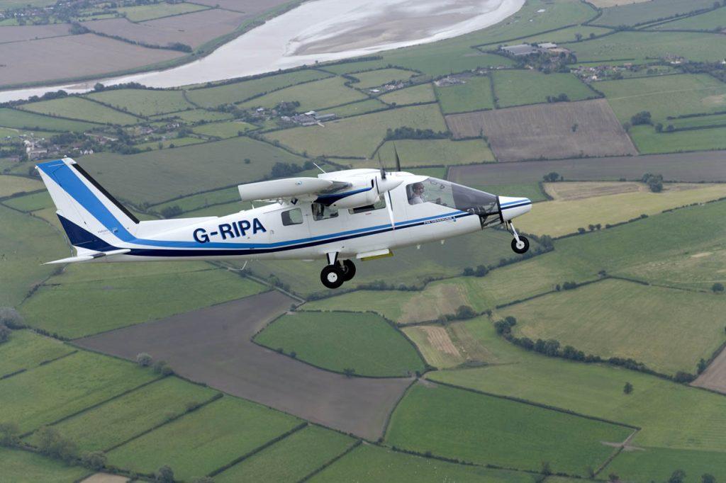 APEM P-68 aerial survey aircraft on survey, now with PART-SPO certificate