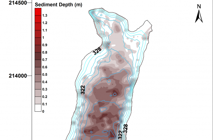 Bathrymetric survey showing reservoir sediment depths