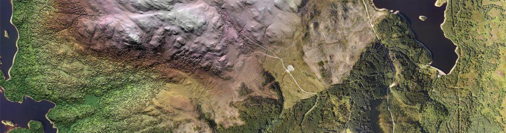 Composite aerial image of terrain in Scotland