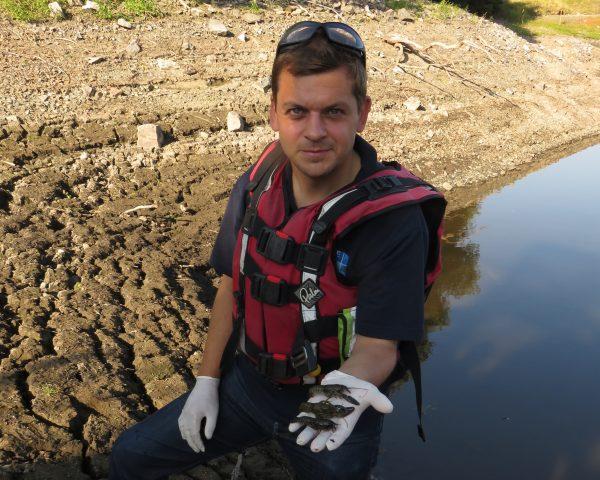 APEM field scientist holding signal crayfish