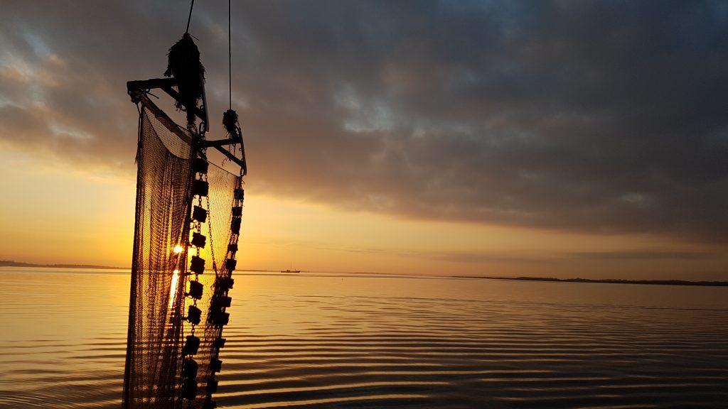 beam trawl at sunset