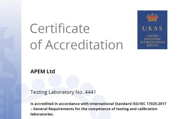 UKAS accreditation certificate