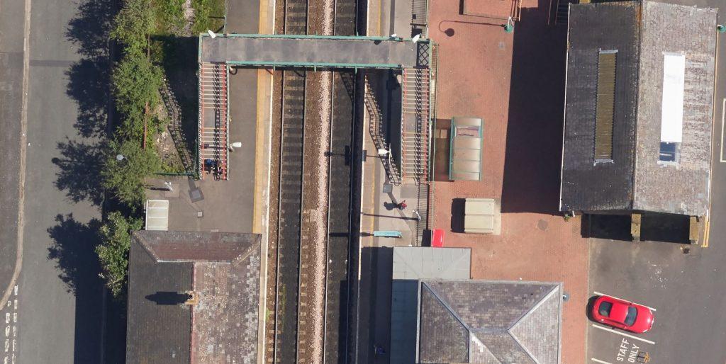 aerial image of railway